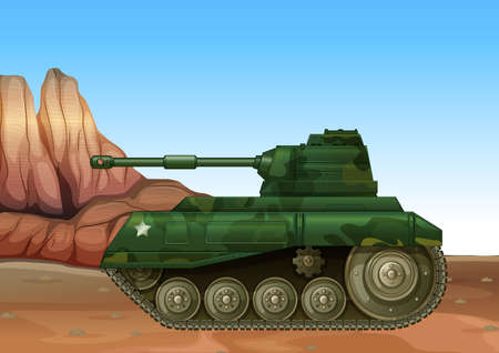 frontline: Illustration of a military fighter tank Illustration