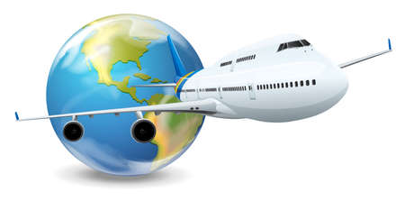 first plane: Illustration of travel concept - Earth and airplane Illustration