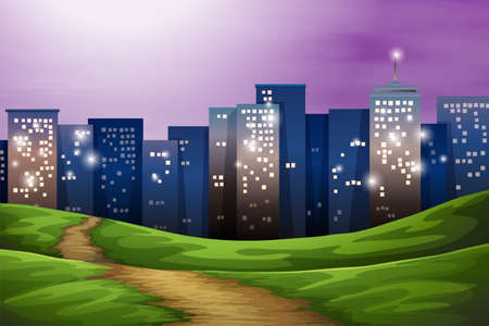 establishments: Illustration of a city with tall buildings