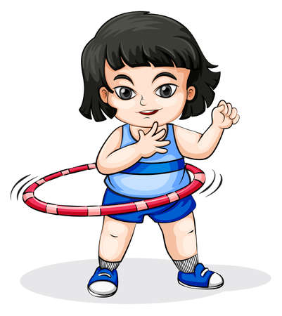 hulahoop: Illustration of an Asian girl playing with the hulahoop on a white background Illustration
