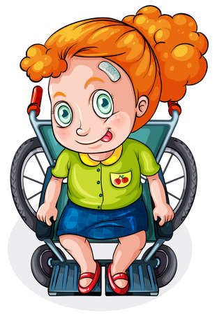occupant: Illustration of a Caucasian lady riding on a wheelchair on a white background