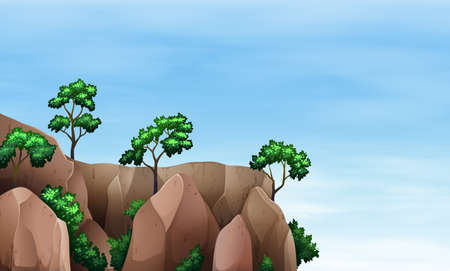 mountainous: Illustration of a cliff with trees Illustration