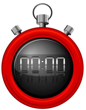 elapsed: Illustration of a red timer on a white background Illustration