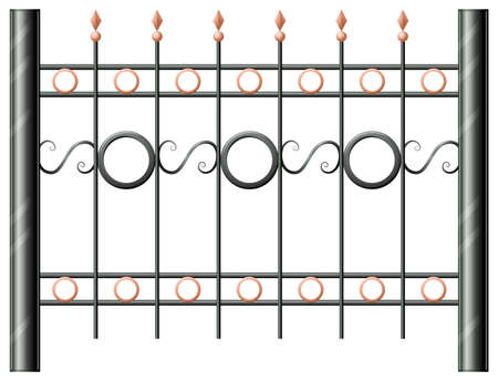panelling: Illustration of a steel fence on a white background Illustration