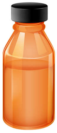 medical bottle: Illustration of a medical bottle with black lid on a white background Illustration