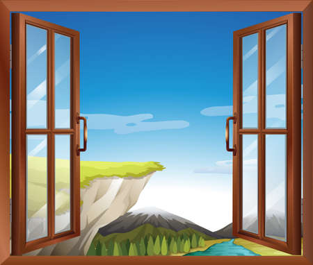 opened eye: Illustration of a window with a view of the cliff at the river