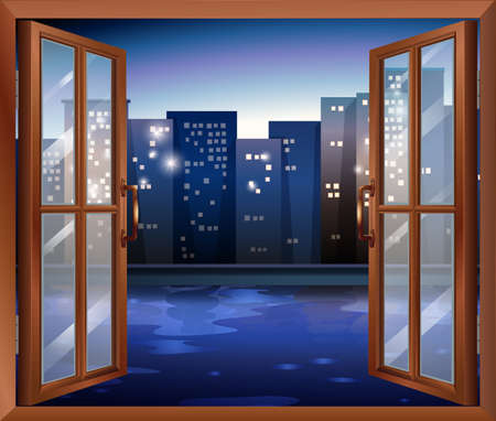 edges: Illustration of a window across the tall city buildings
