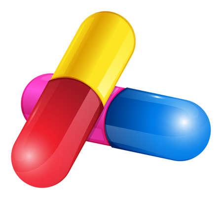 preservatives: Ilustraci�n de una c�psula de c�scara dura sobre un fondo blanco