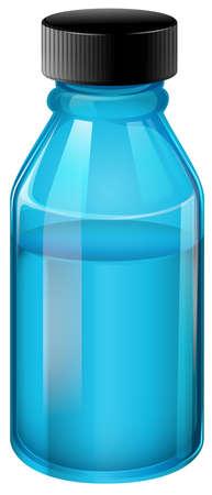 prescribed: Illustration of a transparent blue medical bottle on a white background