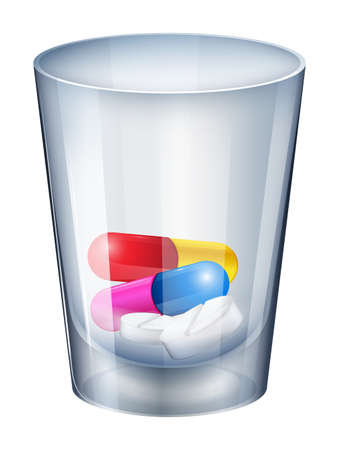 Illustration of a measuring glass with capsules and tablets on a white background Stock Vector - 26197618