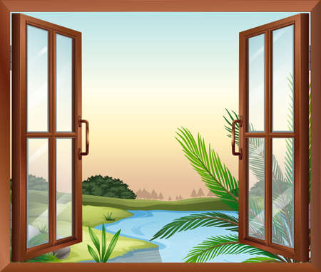 overlooking: Illustration of a window overlooking the view of nature