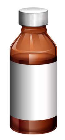 medical bottle: Illustration of a light brown medical bottle on a white background Illustration