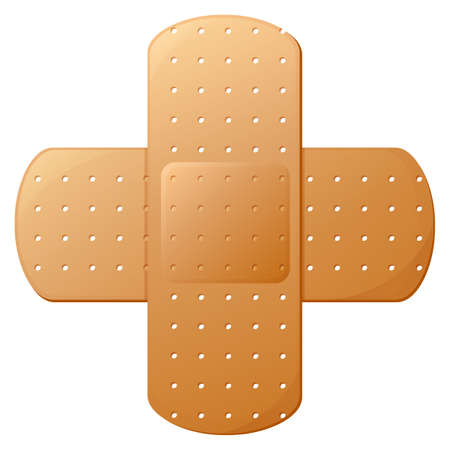 medical dressing: Illustration of an adhesive bandage on a white background Illustration