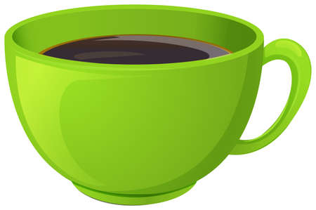 Illustration of a green cup with coffee on a white background Vector
