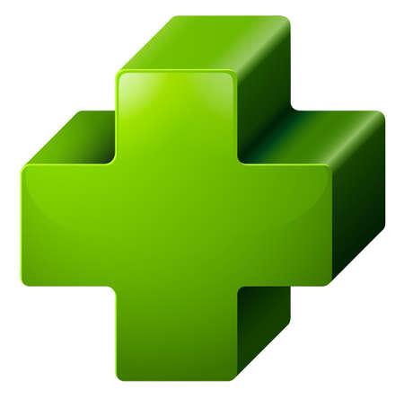 decreased: Illustration of a positive medical symbol on a white background