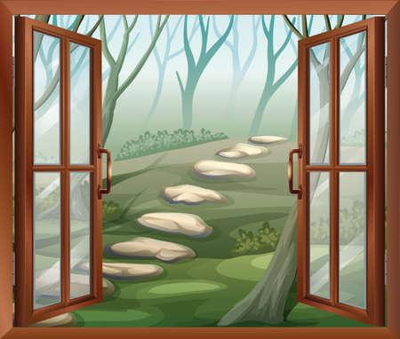Illustrazione di una finestra aperta Archivio Fotografico - 26243182