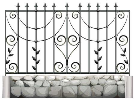 Illustration of a steel fence on a white background Illustration