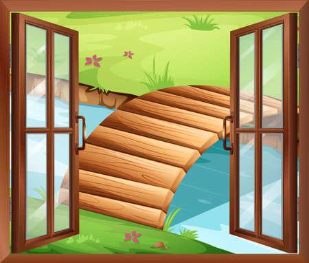 ventana abierta: Ilustración de una ventana con vistas al río con un puente