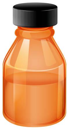 Illustration of an orange medical bottle on a white background