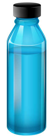 breakable: Illustration of a blue medical bottle with a cover on a white background Illustration