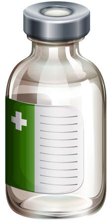 infection prevention: Illustration of a vaccine bottle on a white background Illustration