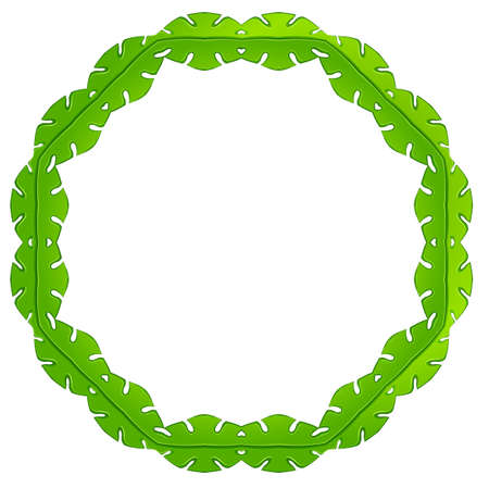 beautification: Illustration of a green frame made of leaves on a white background