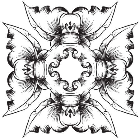 meanders: Illustration of a black and white pattern on a white background Illustration