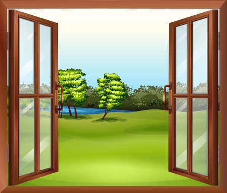 Illustratie van een open houten raam