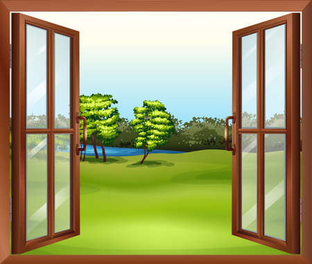 Illustration of an open wooden window