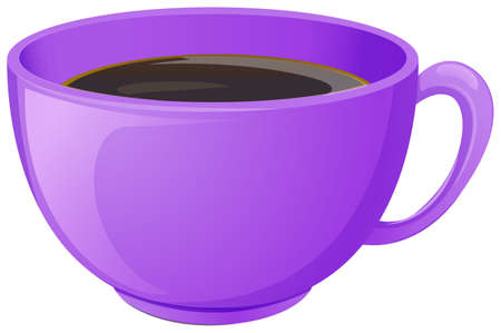 Illustration of a purple cup with coffee on a white background
