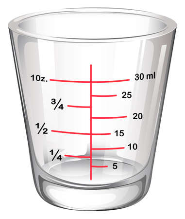 laboratory label: Illustration of a measuring glass on a white background