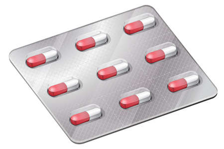 Illustration of the medical capsules on a white background Vector