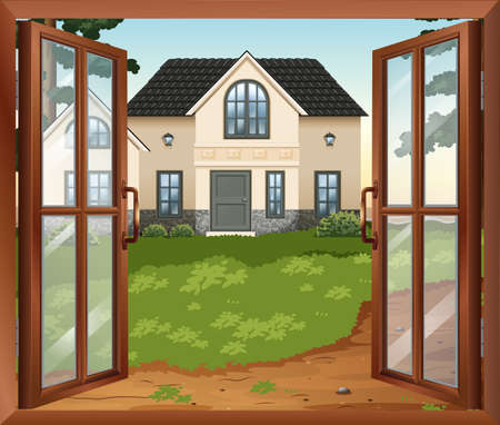 opened eye: Illustration of a window Illustration
