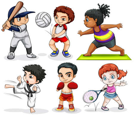 Illustration of the kids engaging in different activities on a white background Vector Illustration