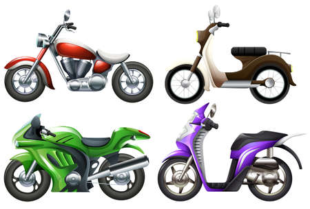 mopeds: Illustration of the motor vehicles on a white background