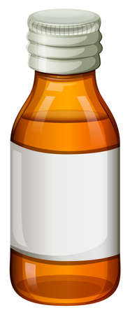 Illustration of an orange medical bottle on a white background Vector