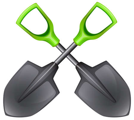digging: Illustration of  the two spades with green handle on a white background