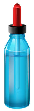 prescribed: Illustration of a blue medical bottle with a dropper on a white background Illustration