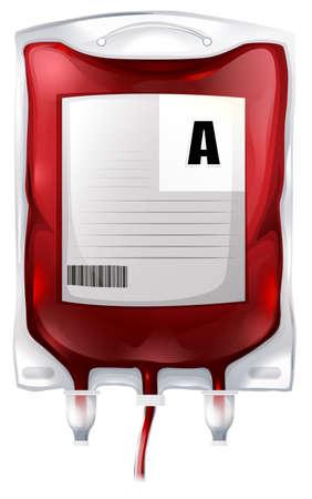 Ilustración de una bolsa de sangre con sangre tipo A en un fondo blanco
