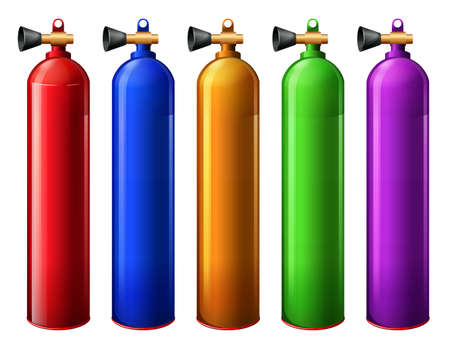 Illustration of the oxygen tanks on a white background Vector