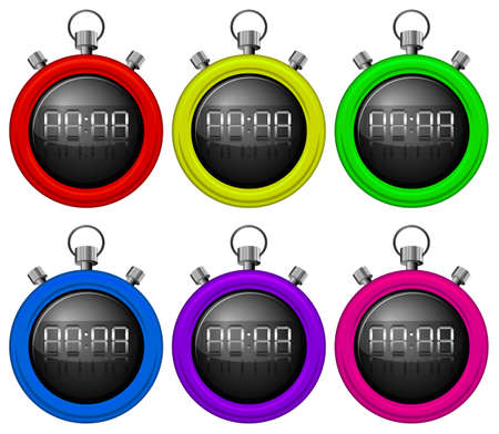 elapsed: Illustration of the colorful timers on a white background
