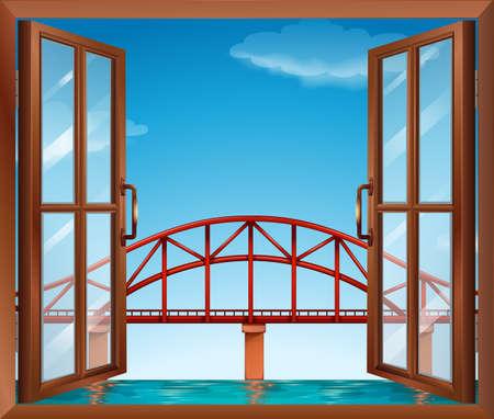 opened eye: Illustration of a window across the bridge