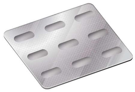 poliester: Ilustraci�n de un paquete de ampolla farmac�utica sobre un fondo blanco Vectores