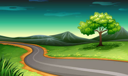 everyday scenes: Illustration of a road going to the mountain Illustration
