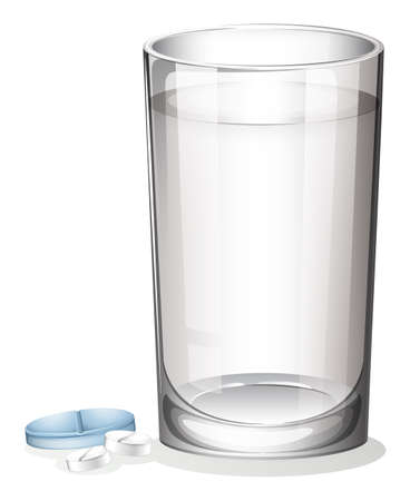 amorphous: Illustration of a tablet and a glass of water on a white background