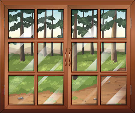opened eye: Illustration of a window with clear glasspanes