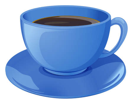 Illustration of a blue cup with coffee on a white background Illustration