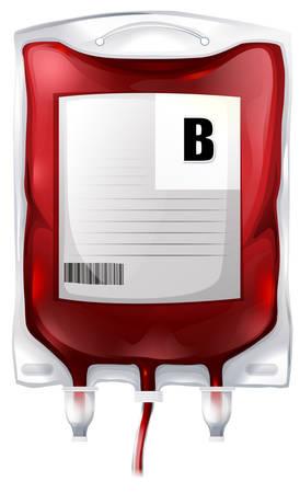 白い背景の上の B 型の血液での血液バッグのイラスト  イラスト・ベクター素材
