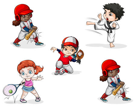 sports activities: Illustration of the different sports activities on a white background