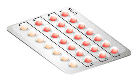 Illustration of a birth control pill on a white background Vector